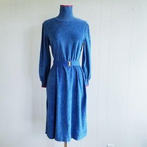 1970s The Dress Division Blue Velour Dress